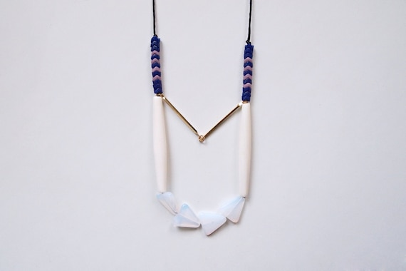 geometric, tribal, brass, czech bead, white triangle glass beadss and black rope, long, beaded necklace