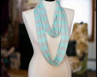 Infinity Scarf - Jersey Knit - Teal & Grey