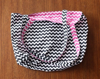 Large Beach/Boat/Market Tote - Reversible - Black and Pink Chevron