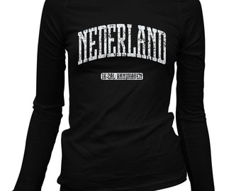 Women's Netherlands LS T-shirt - Nederland Long Sleeve Ladies Tee - S M L XL 2x - Holland - 1 Color
