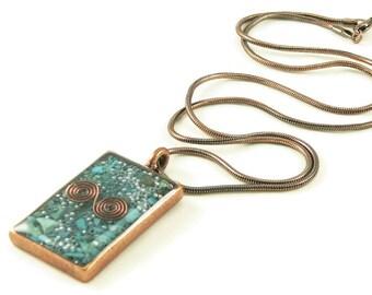 Orgone Energy Pendant - Copper Rectangle w/Turquoise Gemstone - Unisex Necklace - Men's Necklace - Energy Jewelry - Artisan Jewelry