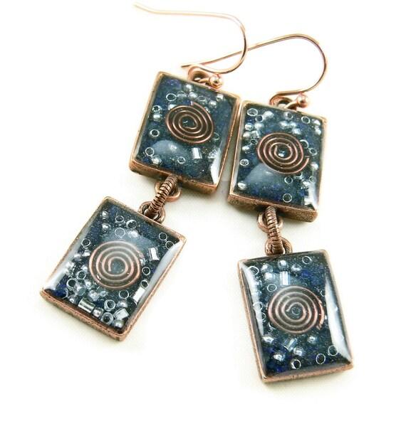 Orgone Energy Earrings - Lapis Lazuli and Copper Gemstone Dangle Earrings - Geometric Rectangle Earrings - Positive Energy - Artisan Jewelry