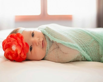 Newborn Cheesecloth Wraps...Baby Wrap... Wraps and Headband Set...Baby Girl Headband...Baby Bows...Photography Props...Newborn Photo Props