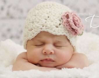 Ava Rose Cloche CROCHET PATTERN instant download flower beanie hat
