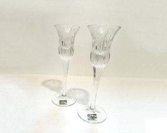 """Mikasa """"Icicles"""" Candlesticks Candle Holders Crystal Bride Wedding Shower"""