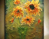 """SUNFLOWER Painting.Original Abstract Painting.Modern Textured Vase Painting.Bouquet of Sunflowers.Home Decor.Large Artwork 40""""x30"""" - Nata S."""