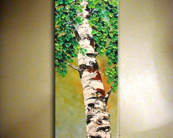 Original Art  Birch Tree Painting.Modern Textured Painting.Palette Knife.Impasto.Birch Tree Painting.Wall Decor by  Nata S....MADE to ORDER