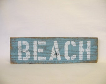 BEACH Wooden Sign with Home Decor Accessory in Turquoise and White Shabby Chic, Cottage Chic, Coastal Decor