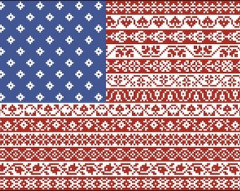 American Flag Cross Stitch Pattern Stars and Stripes Repeating Borders Design PDF Instant Download OR Beaded Tapestry Pattern PDF