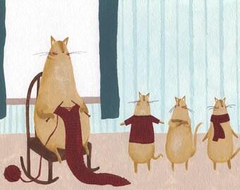Knitting Kitten Illustration Print. Cute Knitting Cat Painting