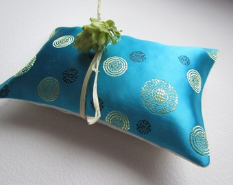Elegant Herbal Hops Pillow - Bright Turquoise Brocade with Light green circle Pattern Hops Pillow