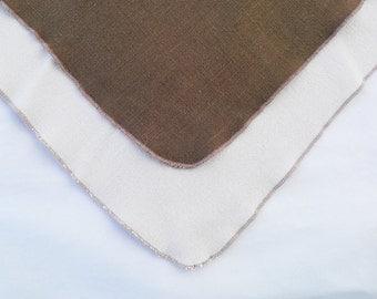 Brown napkins with coordinating cream linen tablecloth, Thanksgiving tablecloths, Thanksgiving napkins