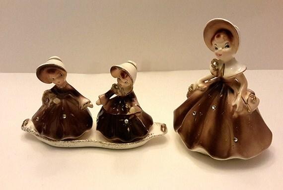 Brown Porcelain Enesco Girls Salt And Pepper Shakers Vintage