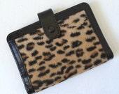 Vintage Faux Leopard Fur Bifold Wallet 1950s 1960s Rockabilly