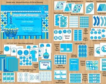 Boy 1st birthday party package 1st birthday boy birthday party Sweet Cupcake Blue Green boy birthday invitation printable WORD PDF File DIY