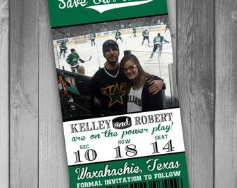 Hockey Save The Date Hockey Ticket Hockey Wedding Sports Ticket Photo Save The Date