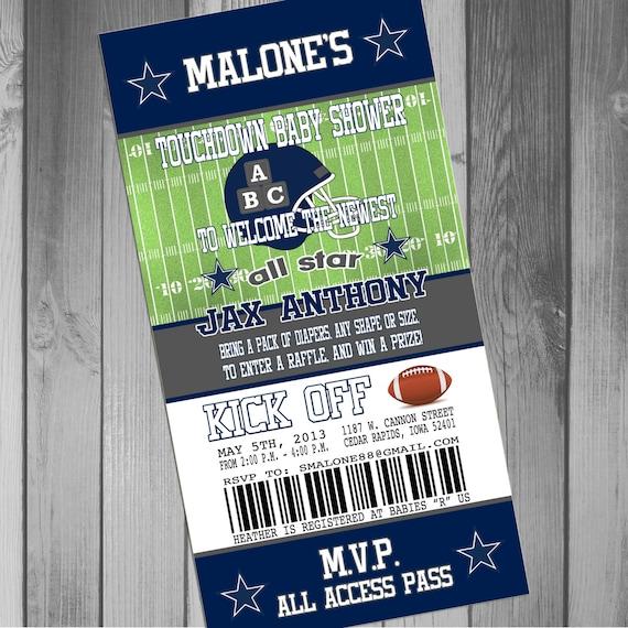 dallas cowboys inspired football baby shower invitation 4x8