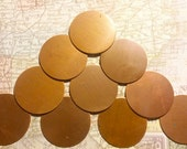 Copper Blanks Discs Circles Coin Beads, 20 Piece 1 1/4 inch Unfinished Surface No Holes, Pure Solid Copper, Metalworking Supplies, reclaimed