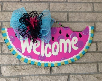 Pink Watermelon, Handpainted Welcome Watermelon Decor, Gift for Mom