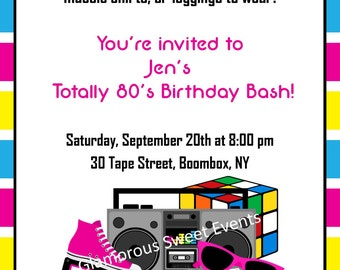 80's Birthday Invitation - Includes a FREE 4x6 Thank You - PRINTABLE - Glamorous Sweet Events