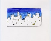 Minimalist cityscape in watercolor and ink, purple and blue with windows, wires free shipping
