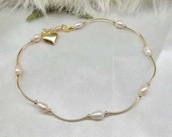 Pink Pearl Anklet Gold Anklet Gold Ankle Bracelet Gold Heart Anklet  14k Gold Filled Anklet or Plate Handcrafted Jewelry BuyAny3+Get1Free