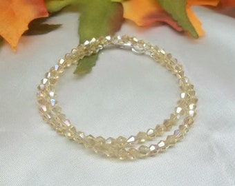 Gold Crystal Bracelet Gold Bracelet Double Wrap Bracelet Sterling Silver Bracelet Double Crystal Bracelet Bridesmaid Jewelry BuyAny3+1 Free