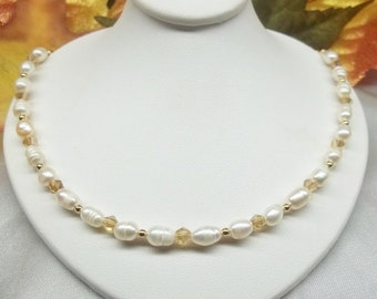 White Pearl Strand Pearl Necklace Crystal Necklace Adjustable Necklace Solid 14k Gold Necklace or 14k Gold Filled Necklace BuyAny3+1Free