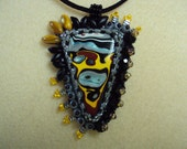 Bead Embroidery Pendant with Fordite