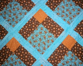 Monkey Quilt, Star Quilt, Teal and Brown Quilt, Blue Quilt, Brown Quilt, Monkey and Star Quilt