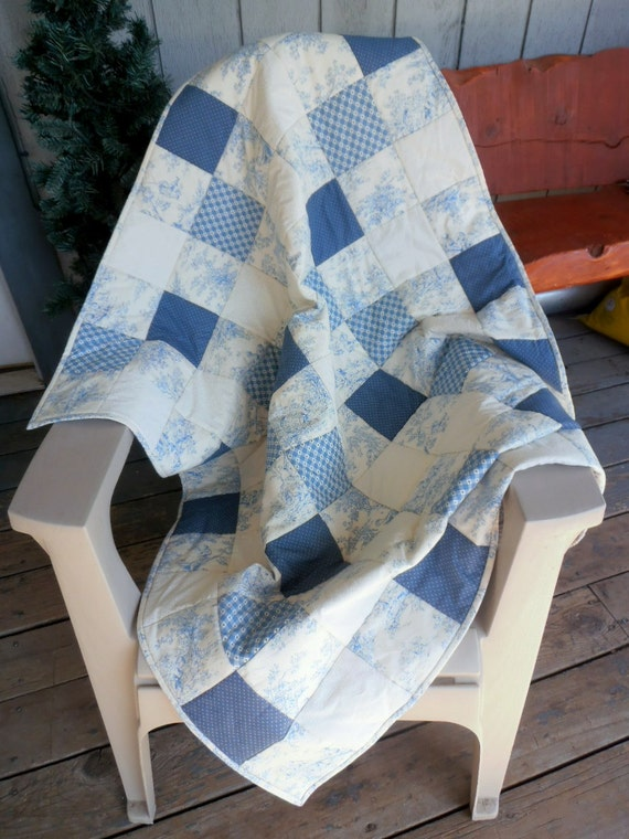 Blue and White Quilt, Baby Quilt, Blue Toile Quilt, Heart quilt, Blue Quilt, Toile Quilt