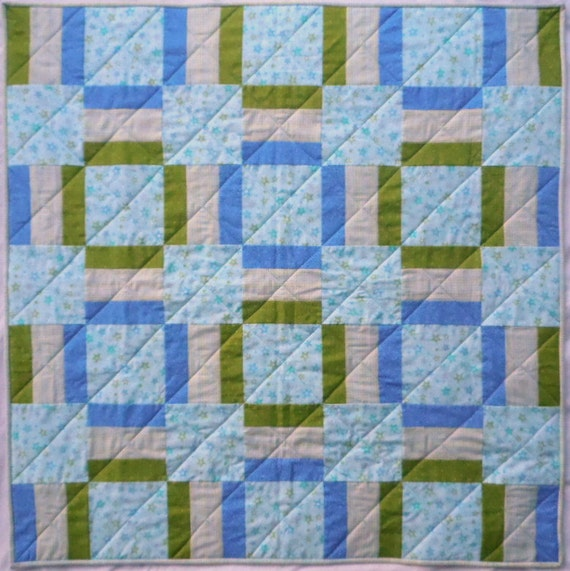 Plaid Baby Quilt: Stars And Plaid Quilt Aqua Quilt Green Quilt By