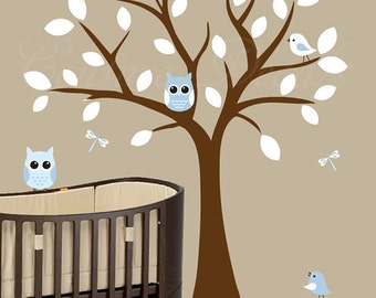 Children wall decal nursery tree wall decal with owls and birds - 0130