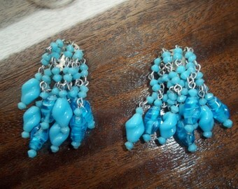 Funky Blue Glass Vintage Cilip-on Earrings