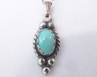 Vintage Turquoise and Sterling Silver Necklace 1930s Mexico
