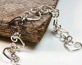 Valentines Day Gift - Heart Bracelet Sterling Silver - Sterling Silver Heart Bracelet