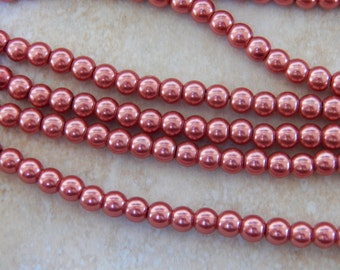 6mm Indian Red Glass Pearls, 100 PC (INDOC152)