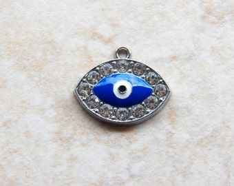 22X19mm Blue Enamel & Rhinestone Evil Eye Charm Pendant, 1 PC (INDOC217)
