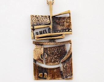 Modernist Finland Vintage Jorma Laine Bronze Mosaic Necklace 1970s Turun Hopea Nordic Scandinavian