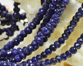 """Natural Sapphire 4x2.8mm 7"""" Strand Faceted Rondelle Beads Natural Gemstone Beads Jewelry Making Supplies"""
