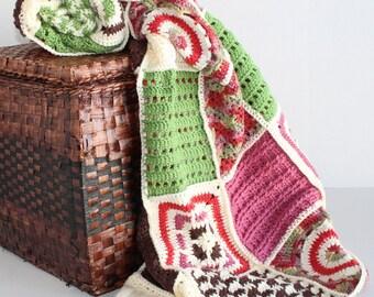 Handmade Sampler Afghan - Granny Square Patchwork Quilt
