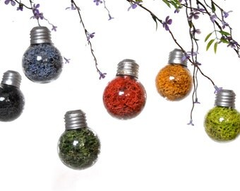 SALE 6 Colorful Mini Lightbulb Ornaments, Hanging Wedding Decoration, Hanging Holiday Decor, Hanging Party Decoration, Christmas Ornaments