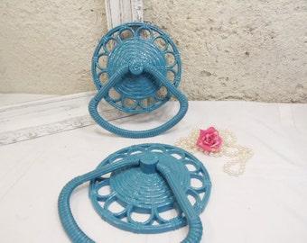 Vintage  Towel Holders/Faux wicker/Coastal Bathroom Decor/Nautical Decor/Towel Ring/Blue Decor