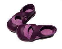 Handmade leather children's shoes.  Purple and mauve girls shoes.