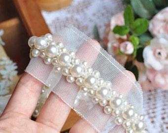 Pearl beaded lace trim, bridal sash trim, wedding Belt, beaded jewelry Trim, Pearl Beading trim, beading trim
