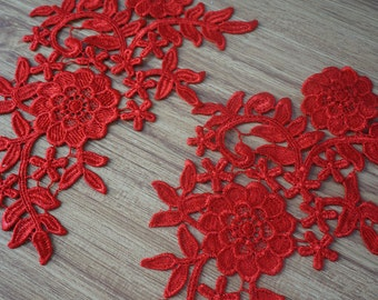 lace applique in red, crochet lace trim applique, venice lace applique