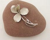 Vintage Sterling Silver Floral/Leaf Spray Brooch by Ecco Company, Vintage Sterling Silver Flower Brooch,UK Seller