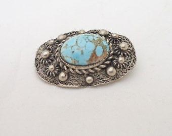 Vintage Brooch, Silver Tone Brooch with Gemstone, Retro Brooch, Blue Gemstone Brooch, Filigree Brooch, UK Seller