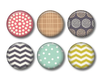 Chevron button badges or fridge magnets