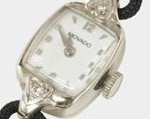 Designer Wrist watch - 14kt White Gold Movado  - 1950's Ladies White Gold Dress Watch with Diamond Accents and 17 Jewel Movement